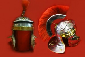 ROMAN CENTURION HELMET WITH RED CREST