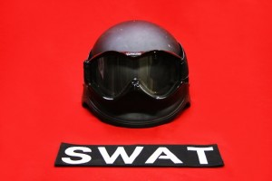 SWAT HELMET AND GOGGLES